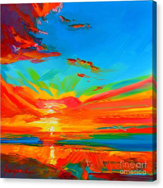 Orange Sunset Landscape Canvas Print
