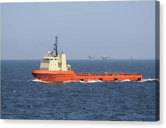 Orange Supply Vessel Underway Canvas Print