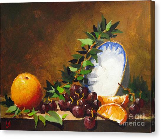 Orange With Bowl Canvas Print