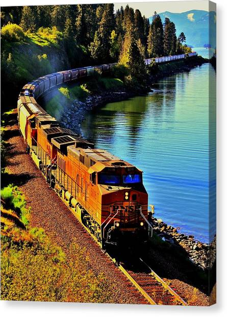 Freight Trains Canvas Print - Orange Workhorse by Benjamin Yeager