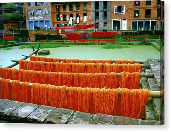 Orange Yarn Canvas Print