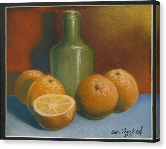 Oranges And A Wine Jug Canvas Print