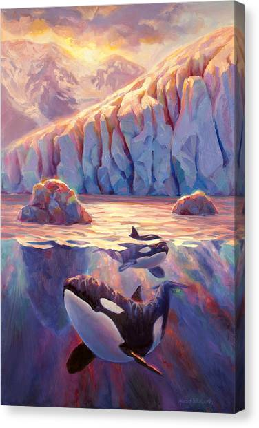 Orcas Canvas Print - Orca Sunrise At The Glacier by Karen Whitworth