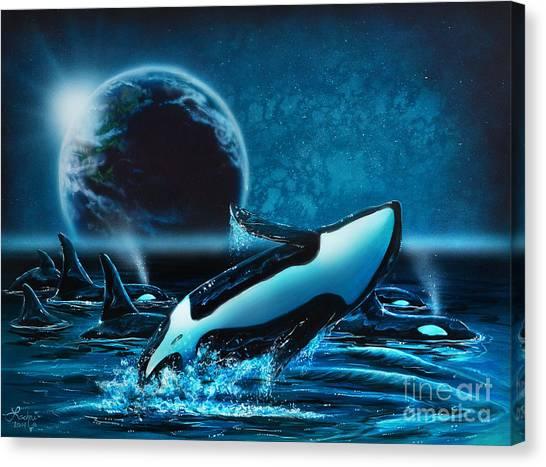 Orcas At Night Canvas Print