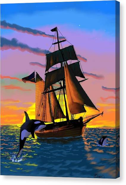 Orcas At Sunset Canvas Print by Brad Simpson