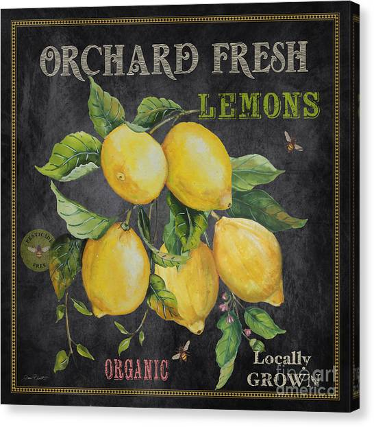 Locally Grown Canvas Print - Orchard Fresh Lemons-jp2679 by Jean Plout