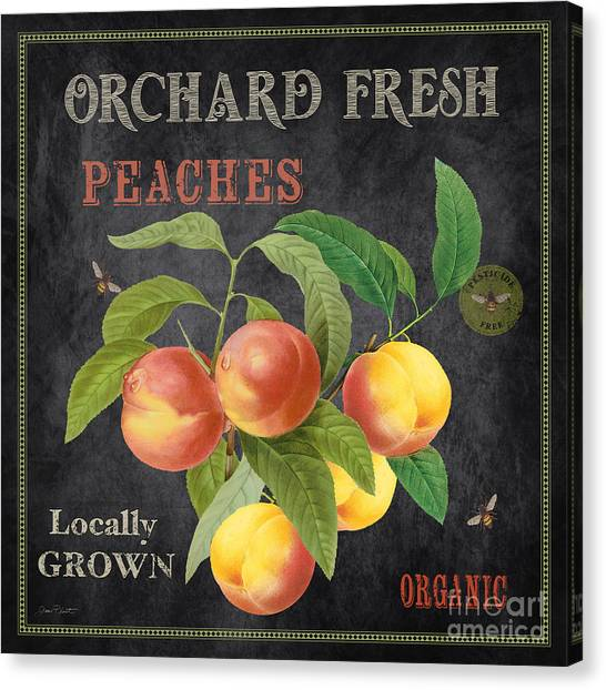 Locally Grown Canvas Print - Orchard Fresh Peaches-jp2640 by Jean Plout