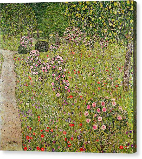 Rose In Bloom Canvas Print - Orchard With Roses Obstgarten Mit Rosen by Gustav Klimt