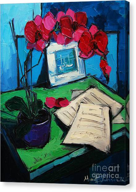 Post-modern Art Canvas Print - Orchid And Piano Sheets by Mona Edulesco