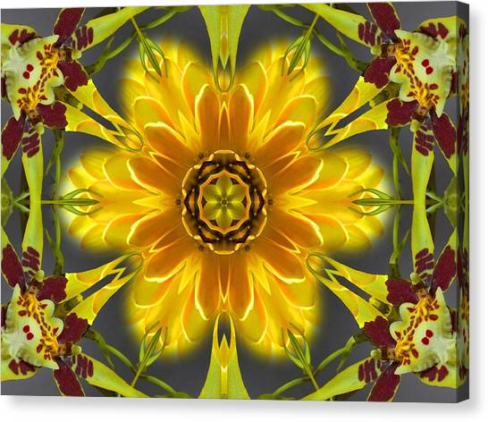 Orchid Flower Star Mandala Canvas Print