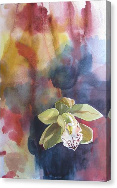 Orchid With Abstraction Canvas Print by Alfred Ng