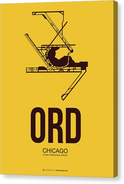 University Of Illinois Canvas Print - Ord Chicago Airport Poster 1 by Naxart Studio