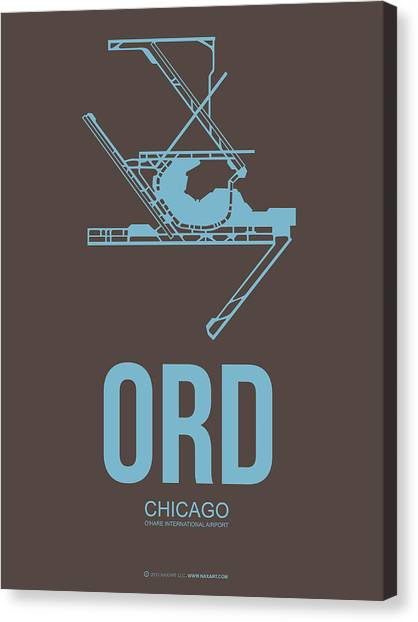 University Of Illinois Canvas Print - Ord Chicago Airport Poster 2 by Naxart Studio