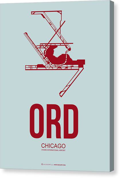 Chicago Canvas Print - Ord Chicago Airport Poster 3 by Naxart Studio