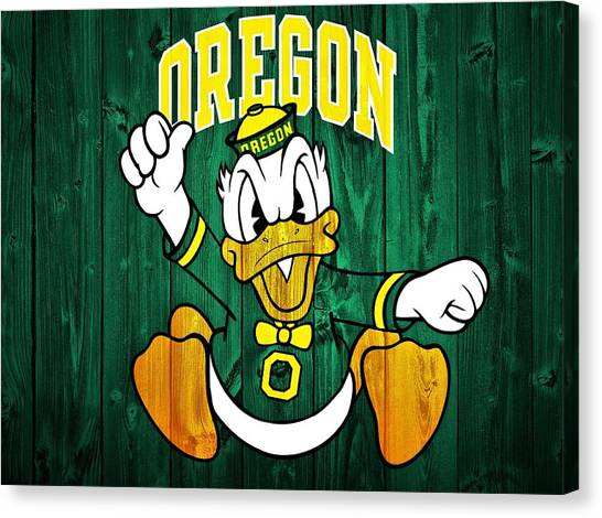 Pac 12 Canvas Print - Oregon Ducks Barn Door by Dan Sproul