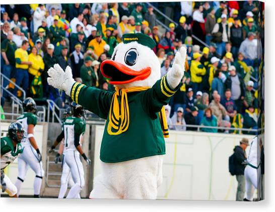 Pac 12 Canvas Print - Oregon Ducks Mascot Puddles At Autzen Stadium by Joshua Rainey