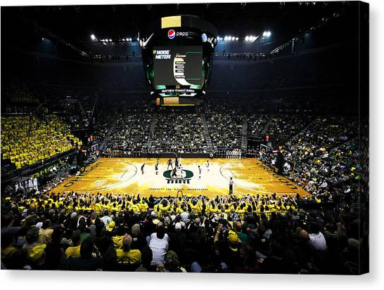 Pac 12 Canvas Print - Oregon Ducks Matthew Knight Arena by Replay Photos