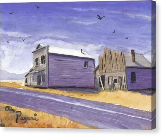 Oregon Ghost Town Watercolor Canvas Print