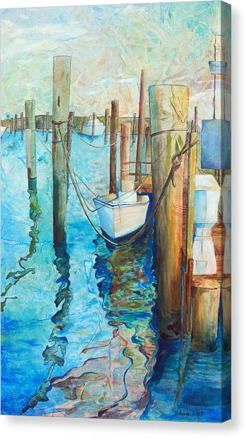 Dock Canvas Print - Oregon Inlet by Arlissa Vaughn