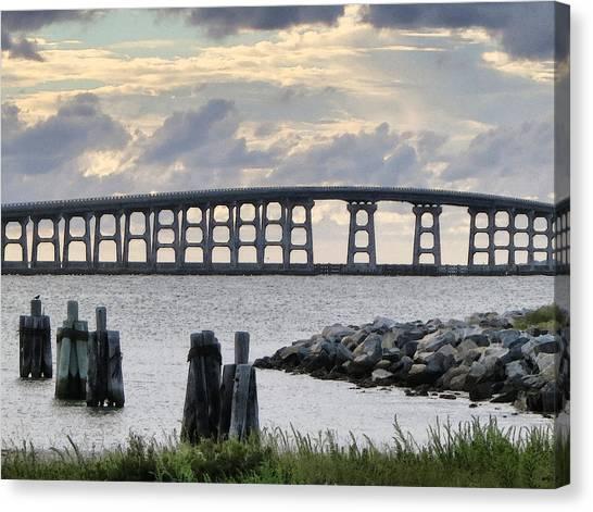 Oregon Inlet Bridge And Pilings Canvas Print