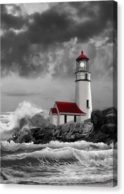 Gina Femrite Canvas Print - Oregon Lighthouse Cape Blanco In Black White And Red by Regina Femrite