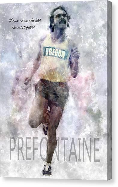 Nike Canvas Print - Oregon Running Legend Steve Prefontaine by Daniel Hagerman