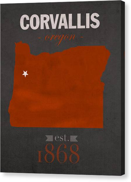 Pac 12 Canvas Print - Oregon State University Beavers Corvallis College Town State Map Poster Series No 087 by Design Turnpike