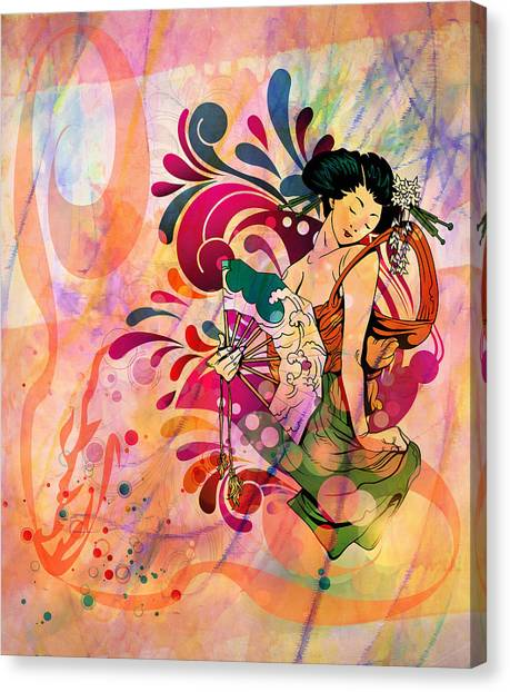 Girl Canvas Print - Oriental Beauty Colorful by Georgiana Romanovna
