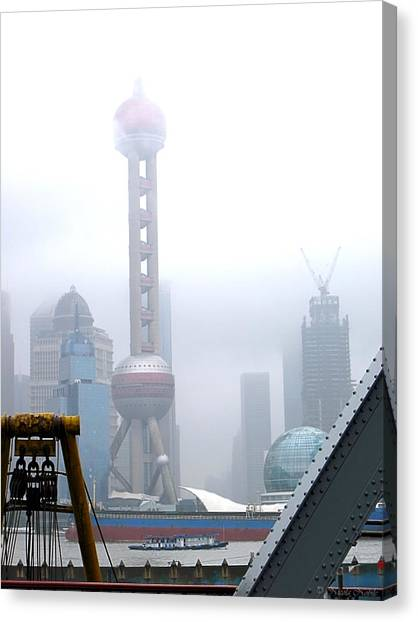 Oriental Pearl Tower Under Fog Canvas Print