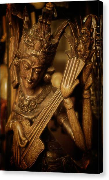 Oriental Wooden Princess Playing Instrument Canvas Print
