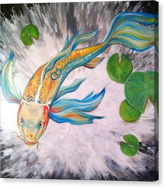 Koi Canvas Print - Original 48x36 Painting (for Sale) by Ocean Clark
