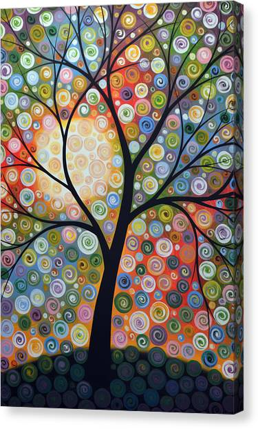 Original Abstract Tree Landscape Art Painting ... Waiting For The Moon Canvas Print