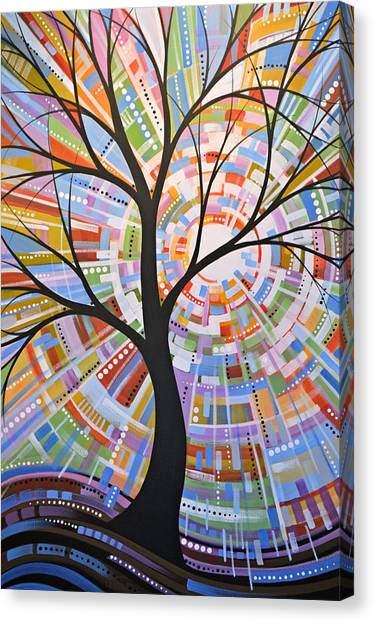 Original Abstract Tree Landscape Painting ... Here Comes The Sun Canvas Print