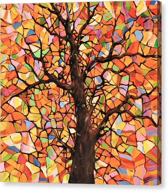 Original Abstract Tree Landscape Painting ... Stained Glass Tree #2 Canvas Print