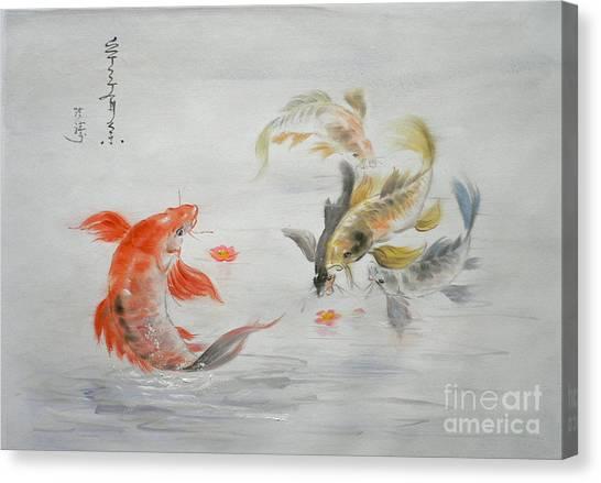 Original Animal  Oil Painting Art- Goldfish Canvas Print