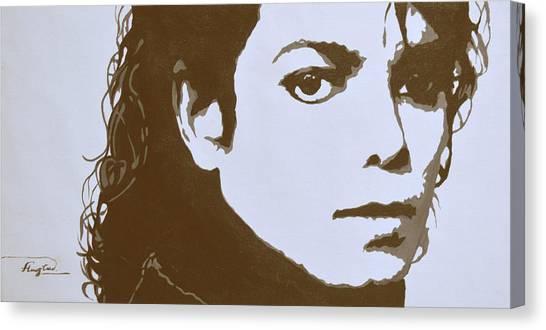 original black an white acrylic paint art- portrait of Michael Jackson#16-2-4-12 Canvas Print