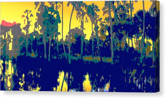 Canvas Print featuring the painting Original Digital Fine Art Palms Reflections Sunset by G Linsenmayer