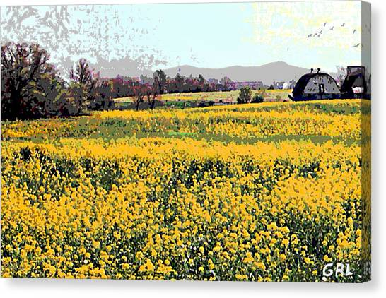 Canvas Print featuring the painting Original Fine Art Digital Fields Yellow Flowers Maryland by G Linsenmayer
