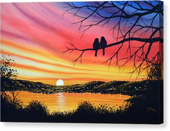 Original Landscape Art Birds Painting ... Alone Now Canvas Print