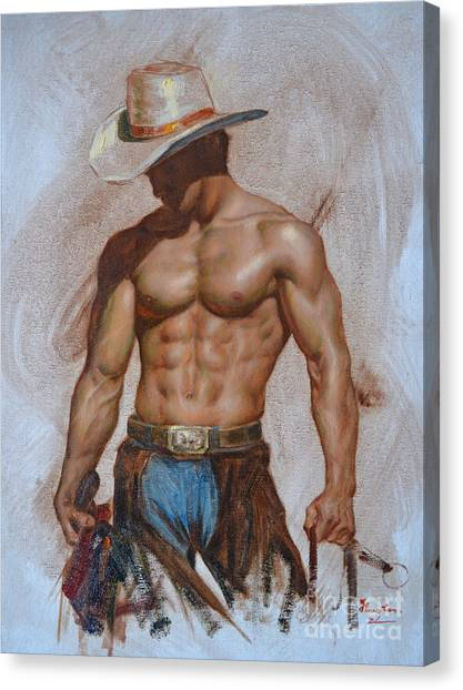 Original Oil Painting Gay Man Body Art-cowboy#16-2-5-19 Canvas Print