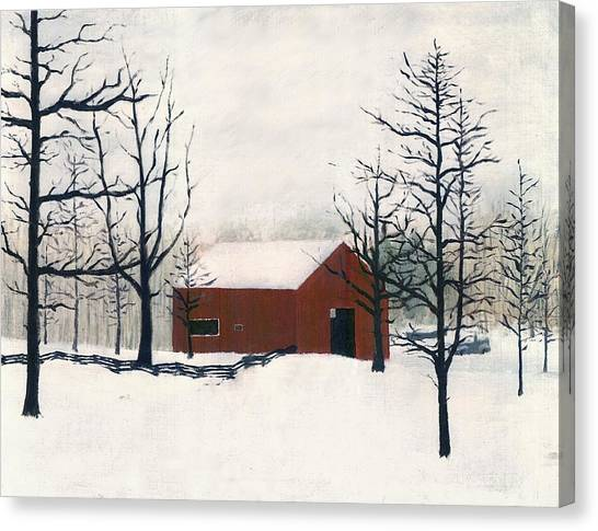 Original Painting Red Barn Snow Maryland Canvas Print