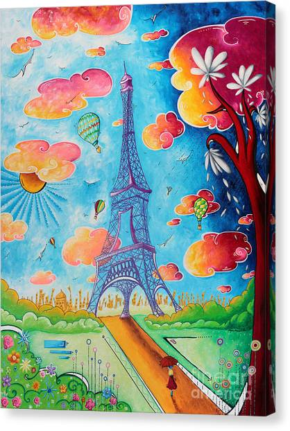 Canvas Print - Original Paris Eiffel Tower Pop Art Style Painting Fun And Chic By Megan Duncanson by Megan Duncanson