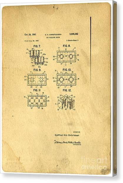 Bricks Canvas Print - Original Patent For Lego Toy Building Brick by Edward Fielding