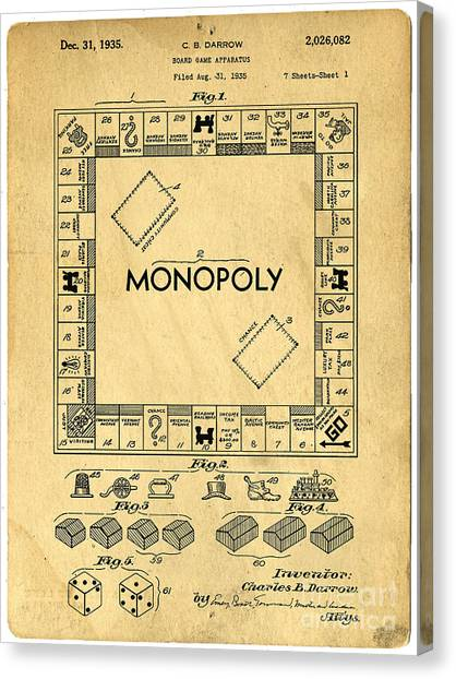 Real Estate Canvas Print - Original Patent For Monopoly Board Game by Edward Fielding