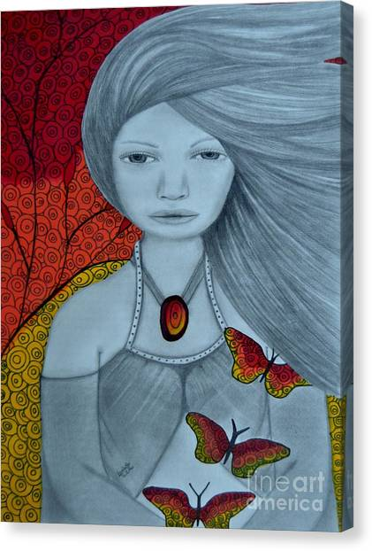 Original Pencil Drawing Art The Wind Of The Spirit 2 By Saribelle Rodriguez Canvas Print
