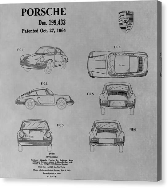 Classic Car Drawings Canvas Print - Original Porsche Patent by Dan Sproul