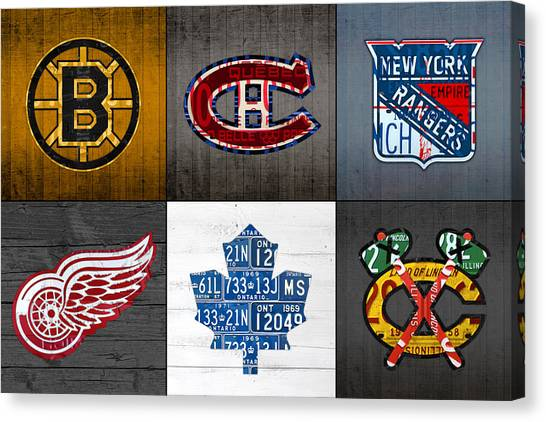 Maple Leaf Art Canvas Print - Original Six Hockey Team Retro Logo Vintage Recycled License Plate Art by Design Turnpike