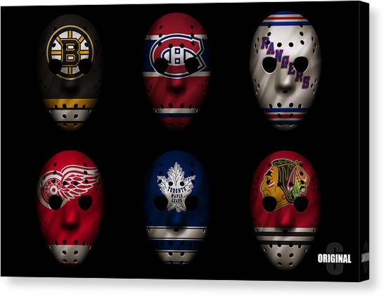 Hockey Players Canvas Print - Original Six Jersey Mask by Joe Hamilton