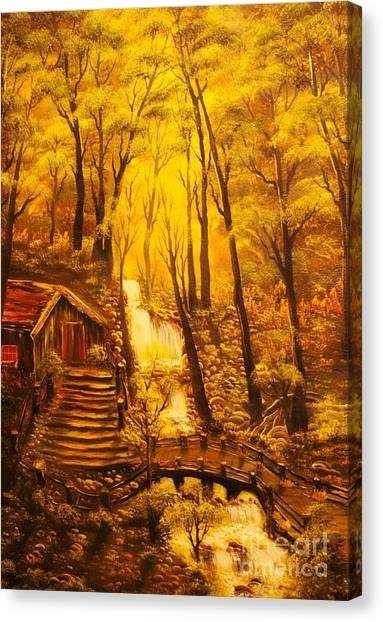 Tranquil Cottage Stream- Original Sold -buy Giclee Print Nr 38 Of Limited Edition Of 40 Prints  Canvas Print