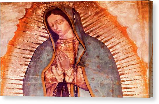 Old Christ Church Canvas Print - Original Virgin Mary Guadalupe Painting by William Perry